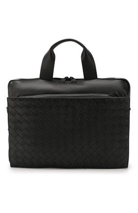 Мужской кожаный портфель BOTTEGA VENETA черного цвета, арт. 610158/VCQH1   Фото 1