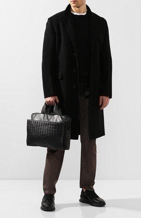 Мужской кожаный портфель BOTTEGA VENETA черного цвета, арт. 610158/VCQH1   Фото 2
