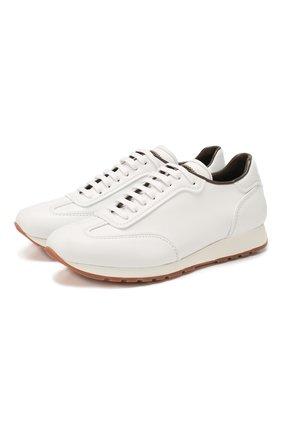 Мужские кожаные кроссовки BRIONI белого цвета, арт. QHH80L/P9726   Фото 1