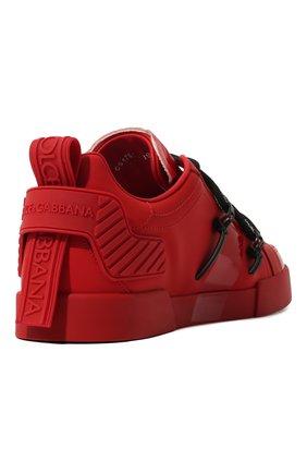 Мужские кожаные кеды portofino DOLCE & GABBANA красного цвета, арт. CS1783/AJ986   Фото 5