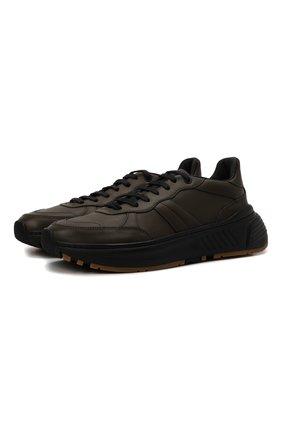 Мужские кожаные кроссовки BOTTEGA VENETA хаки цвета, арт. 565646/VT040 | Фото 1 (Материал внутренний: Натуральная кожа; Подошва: Массивная; Стили: Классический)