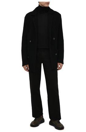 Мужские кожаные кроссовки BOTTEGA VENETA хаки цвета, арт. 565646/VT040 | Фото 2 (Материал внутренний: Натуральная кожа; Подошва: Массивная; Стили: Классический)