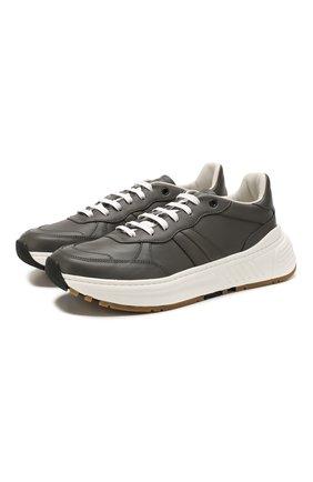 Мужские кожаные кроссовки BOTTEGA VENETA светло-серого цвета, арт. 565646/VT040 | Фото 1