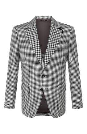 Мужской пиджак из смеси шерсти и шелка TOM FORD черно-белого цвета, арт. 718R70/15MP40 | Фото 1