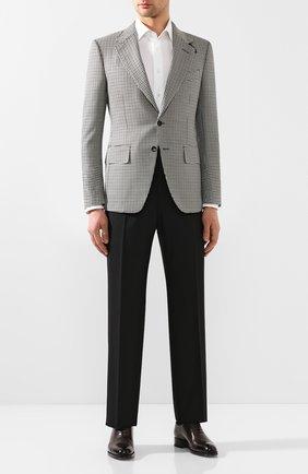 Мужской пиджак из смеси шерсти и шелка TOM FORD черно-белого цвета, арт. 718R70/15MP40 | Фото 2
