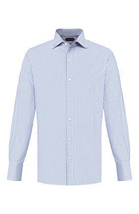 Мужская хлопковая сорочка TOM FORD синего цвета, арт. 7FT265/94S1AX | Фото 1