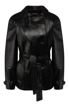 Женская кожаная куртка DOLCE & GABBANA черного цвета, арт. F9G97L/HULF5 | Фото 1