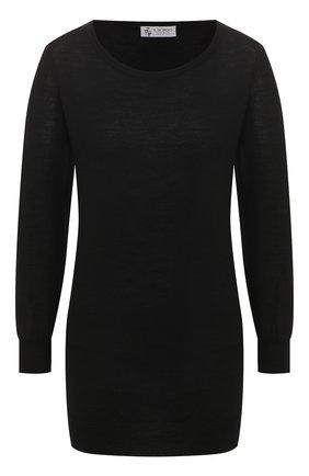 Женский пуловер из смеси кашемира и шелка IL BORGO CASHMERE черного цвета, арт. 51-542 | Фото 1 (Рукава: Длинные; Материал внешний: Шелк, Шерсть; Стили: Минимализм, Кэжуэл; Женское Кросс-КТ: Пуловер-одежда)