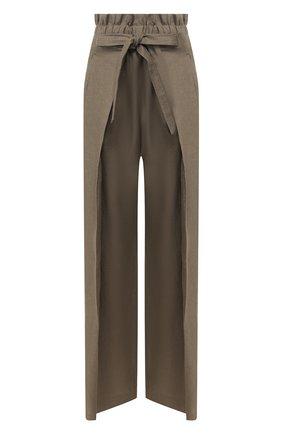 Женские льняные брюки CULT GAIA зеленого цвета, арт. 52017L14 SSP   Фото 1 (Материал внешний: Лен; Статус проверки: Проверена категория; Женское Кросс-КТ: Брюки-одежда; Длина (брюки, джинсы): Стандартные; Силуэт Ж (брюки и джинсы): Широкие)