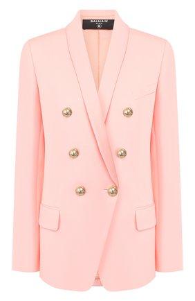 Женский шерстяной жакет BALMAIN розового цвета, арт. TF17471/167L | Фото 1