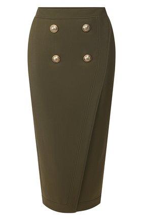 Женская юбка из смеси вискозы и шерсти BALMAIN хаки цвета, арт. TF14475/V093 | Фото 1 (Длина Ж (юбки, платья, шорты): Миди; Материал подклада: Вискоза; Статус проверки: Проверена категория; Материал внешний: Вискоза)