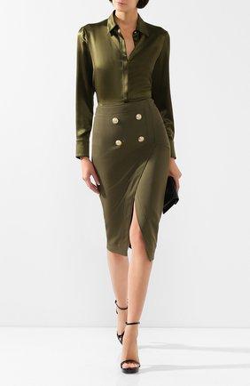 Женская юбка из смеси вискозы и шерсти BALMAIN хаки цвета, арт. TF14475/V093 | Фото 2 (Длина Ж (юбки, платья, шорты): Миди; Материал подклада: Вискоза; Статус проверки: Проверена категория; Материал внешний: Вискоза)