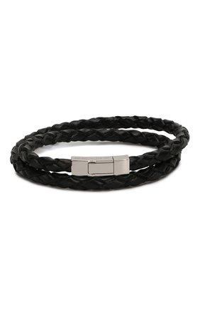 Мужской кожаный браслет TATEOSSIAN черного цвета, арт. BR-3819 | Фото 1