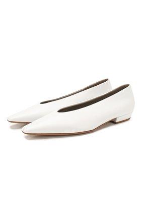 Женские кожаные балетки BOTTEGA VENETA белого цвета, арт. 608872/VBSD0 | Фото 1