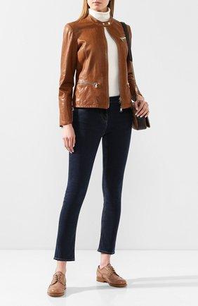 Женские кожаные дерби SANTONI бежевого цвета, арт. WUKM58460BA3SDDKP20 | Фото 2