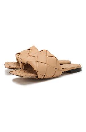 Женские кожаные шлепанцы lido BOTTEGA VENETA бежевого цвета, арт. 608853/VBSS0 | Фото 1