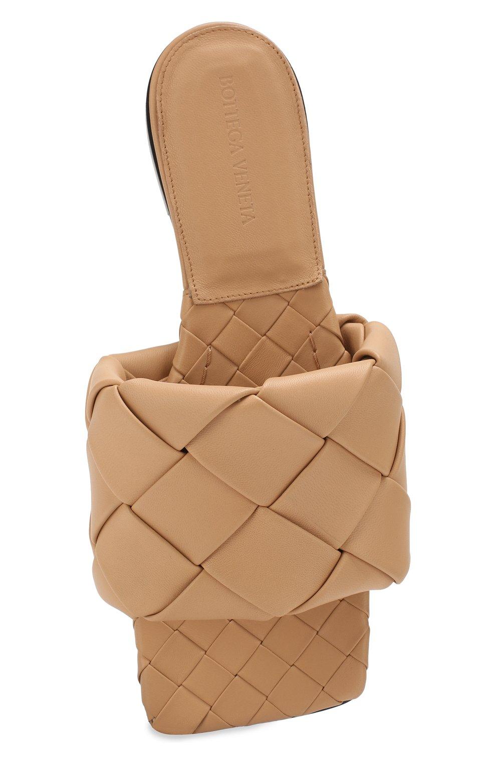 Женские кожаные шлепанцы lido BOTTEGA VENETA бежевого цвета, арт. 608853/VBSS0 | Фото 5