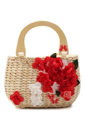 Детская соломенная сумка MONNALISA красного цвета, арт. 175014 | Фото 1