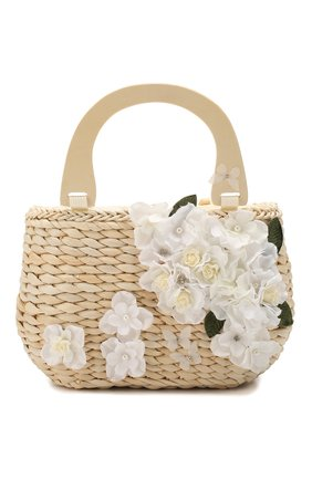 Детская соломенная сумка MONNALISA белого цвета, арт. 175014 | Фото 1