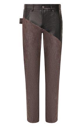 Мужские комбинированные джинсы BOTTEGA VENETA темно-коричневого цвета, арт. 607913/VKLI0 | Фото 1