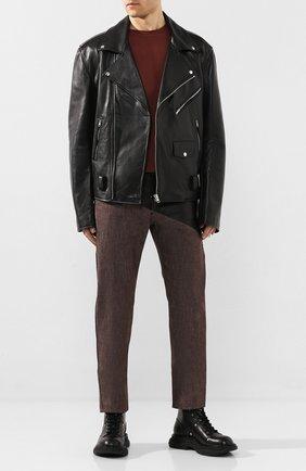 Мужские комбинированные джинсы BOTTEGA VENETA темно-коричневого цвета, арт. 607913/VKLI0 | Фото 2