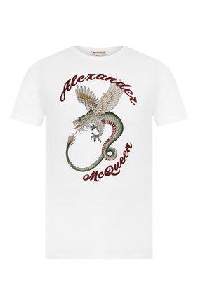 Мужская хлопковая футболка ALEXANDER MCQUEEN белого цвета, арт. 609578/Q0Z92 | Фото 1