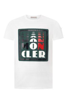 Мужская хлопковая футболка MONCLER белого цвета, арт. F1-091-8C710-10-8390T | Фото 1