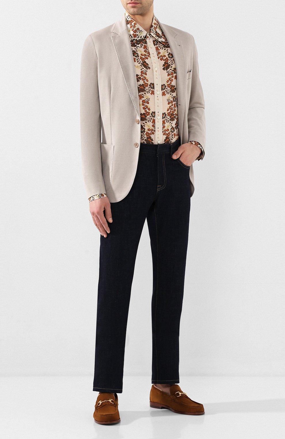 Мужская рубашка из смеси хлопка и шелка DSQUARED2 бежевого цвета, арт. S74DM0403/S52494 | Фото 2