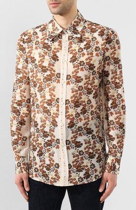 Мужская рубашка из смеси хлопка и шелка DSQUARED2 бежевого цвета, арт. S74DM0403/S52494 | Фото 3
