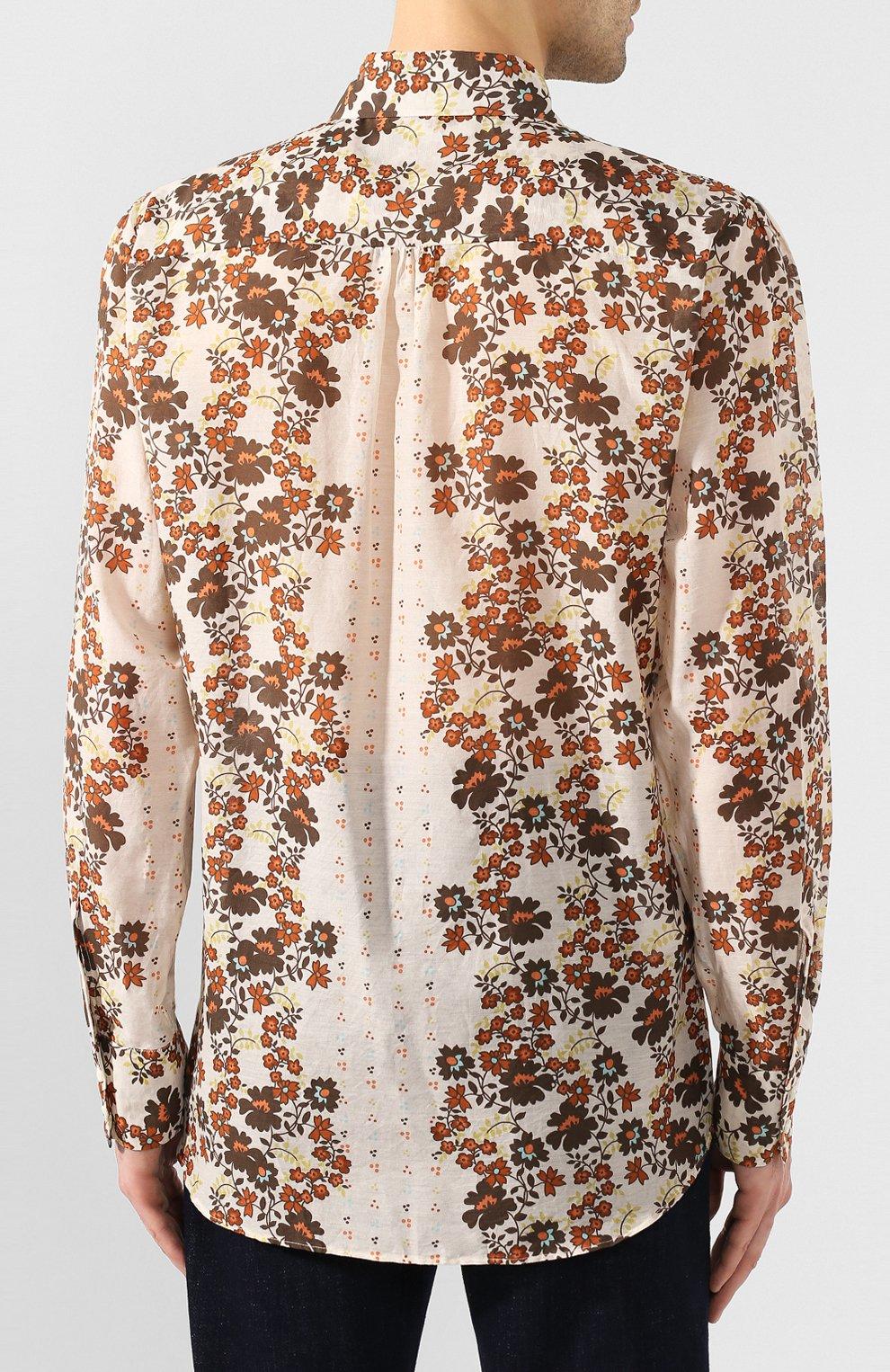 Мужская рубашка из смеси хлопка и шелка DSQUARED2 бежевого цвета, арт. S74DM0403/S52494 | Фото 4