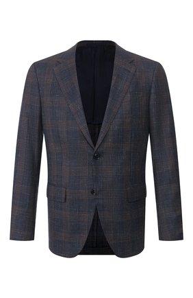 Мужской пиджак из смеси шерсти и шелка ERMENEGILDO ZEGNA темно-синего цвета, арт. 749039/15M220 | Фото 1 (Рукава: Длинные; Длина (для топов): Стандартные; Материал внешний: Шерсть; Материал подклада: Купро; 1-2-бортные: Однобортные; Пиджаки М: Приталенный; Стили: Классический; Случай: Коктейльный)