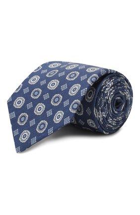Мужской галстук из смеси шелка и льна LUIGI BORRELLI темно-синего цвета, арт. LC80-B/TT9053 | Фото 1 (Материал: Лен, Текстиль; Принт: С принтом)