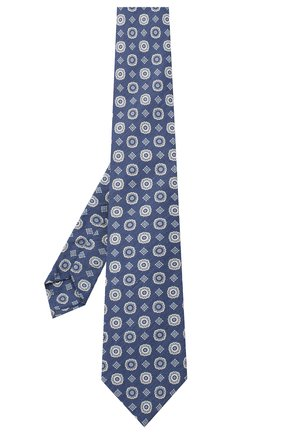 Мужской галстук из смеси шелка и льна LUIGI BORRELLI темно-синего цвета, арт. LC80-B/TT9053 | Фото 2 (Материал: Лен, Текстиль; Принт: С принтом)