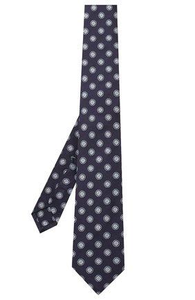 Мужской шелковый галстук LUIGI BORRELLI темно-синего цвета, арт. LC80-B/TT9079 | Фото 2 (Материал: Текстиль; Принт: С принтом)