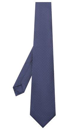 Мужской шелковый галстук LUIGI BORRELLI темно-синего цвета, арт. LC80-B/TT9200 | Фото 2 (Материал: Текстиль; Принт: Без принта)