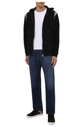 Мужские кожаные кеды BURBERRY черного цвета, арт. 8024124 | Фото 2 (Подошва: Плоская; Материал внутренний: Натуральная кожа)