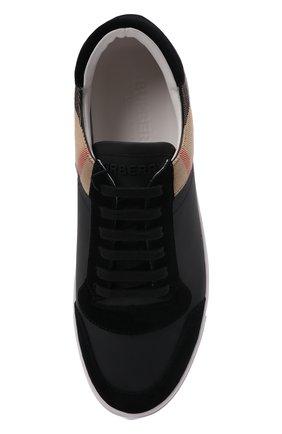 Мужские кожаные кеды BURBERRY черного цвета, арт. 8024124 | Фото 5
