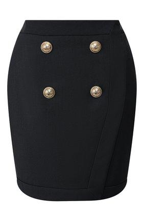 Женская юбка из смеси вискозы и шерсти BALMAIN темно-синего цвета, арт. TF14046/V093   Фото 1 (Длина Ж (юбки, платья, шорты): Мини; Материал подклада: Вискоза; Материал внешний: Вискоза; Статус проверки: Проверена категория)