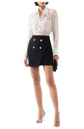 Женская юбка из смеси вискозы и шерсти BALMAIN темно-синего цвета, арт. TF14046/V093 | Фото 2