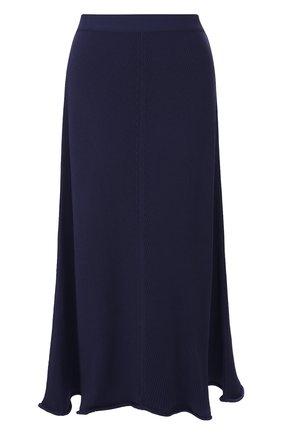 Женская юбка-миди GIORGIO ARMANI темно-синего цвета, арт. 3HAN04/AM37Z | Фото 1 (Длина Ж (юбки, платья, шорты): Миди; Статус проверки: Проверена категория; Материал внешний: Вискоза)