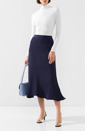 Женская юбка-миди GIORGIO ARMANI темно-синего цвета, арт. 3HAN04/AM37Z | Фото 2 (Длина Ж (юбки, платья, шорты): Миди; Статус проверки: Проверена категория; Материал внешний: Вискоза)