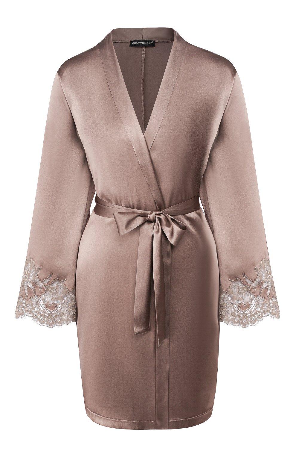 Женский шелковый халат COTTON CLUB коричневого цвета, арт. 6VB | Фото 1