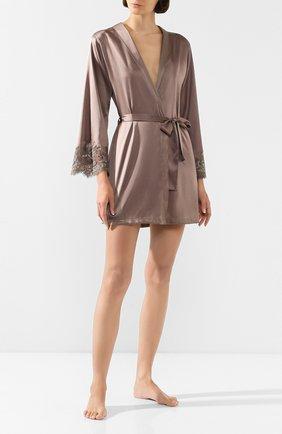 Женский шелковый халат COTTON CLUB коричневого цвета, арт. 6VB | Фото 2