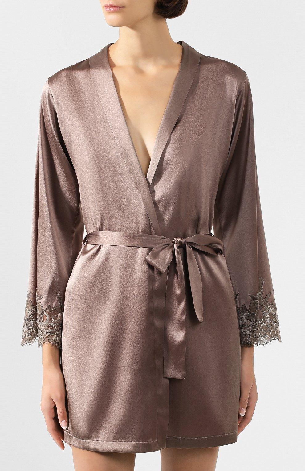 Женский шелковый халат COTTON CLUB коричневого цвета, арт. 6VB | Фото 3