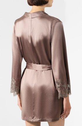 Женский шелковый халат COTTON CLUB коричневого цвета, арт. 6VB | Фото 4