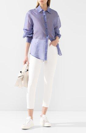 Женская рубашка из смеси хлопка и шелка TWINS FLORENCE голубого цвета, арт. TWFPE20CAM0005 | Фото 2