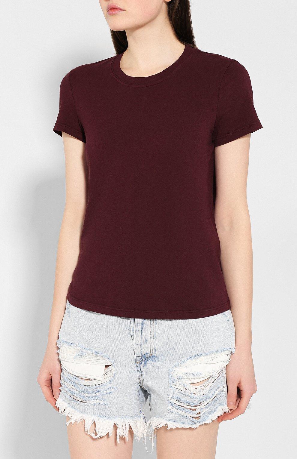 Женская хлопковая футболка JAMES PERSE бордового цвета, арт. WLJ3114   Фото 3