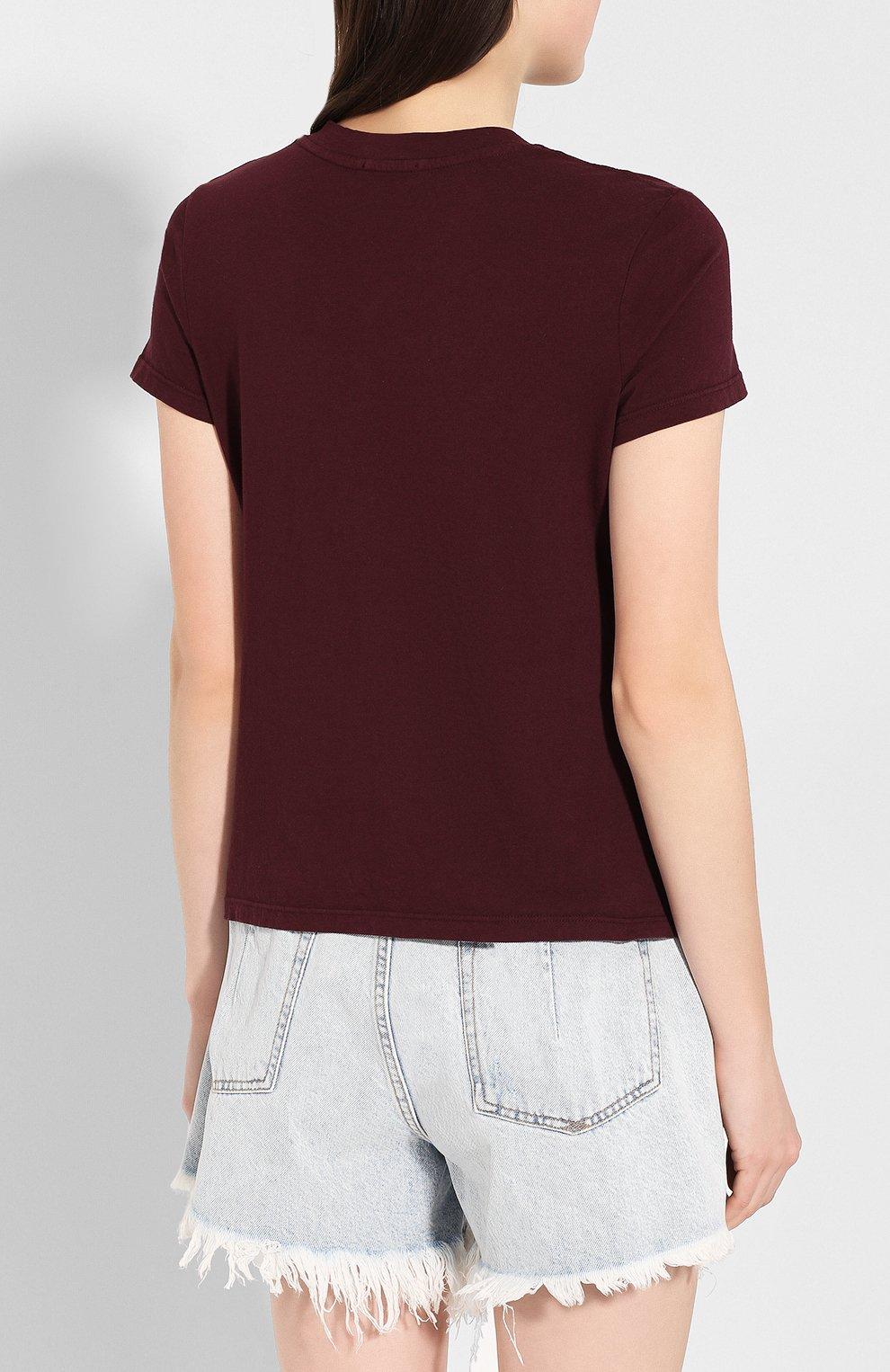 Женская хлопковая футболка JAMES PERSE бордового цвета, арт. WLJ3114   Фото 4