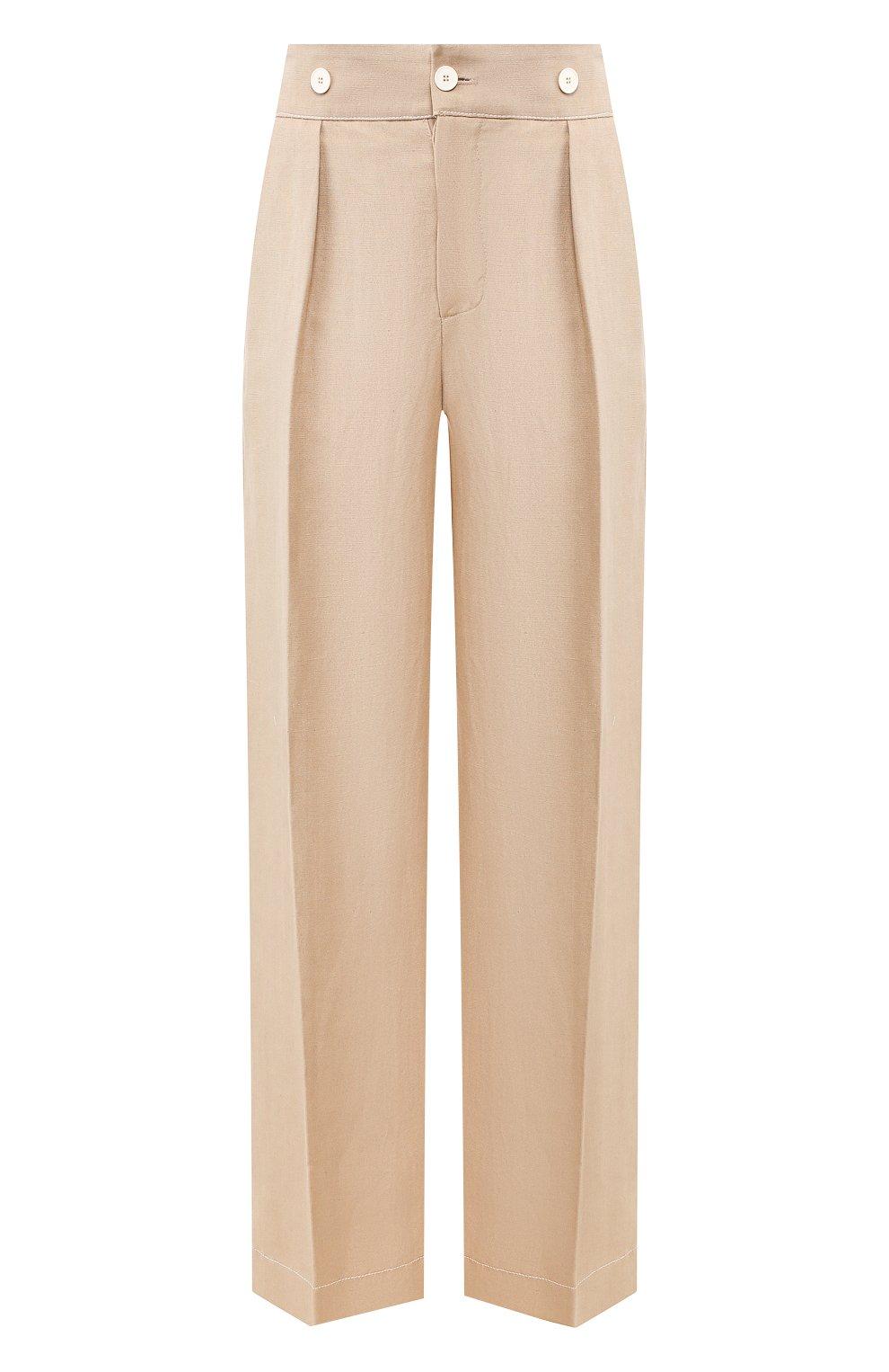 Женские брюки из смеси вискозы и льна LANVIN бежевого цвета, арт. RW-TR507U-4347-P20 | Фото 1