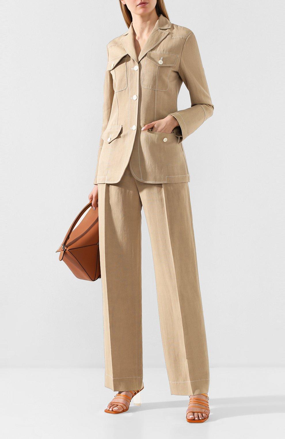 Женские брюки из смеси вискозы и льна LANVIN бежевого цвета, арт. RW-TR507U-4347-P20 | Фото 2